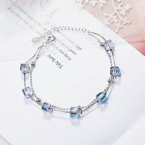 NEW 925 Sterling Silver Crystal Cube Bracelet